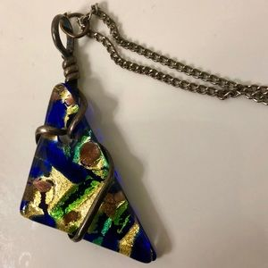 Blue/Green/Gold Pendant Necklace